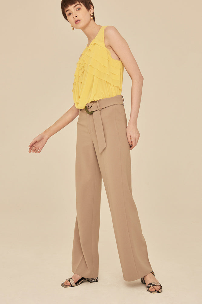 High Waist Tailored Peg Trousers With Buckle Belt-Camel - front row shop