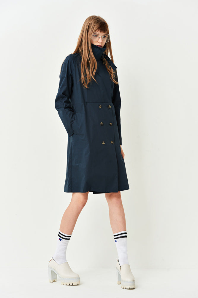 Navy A-line Trench Dress - front row shop