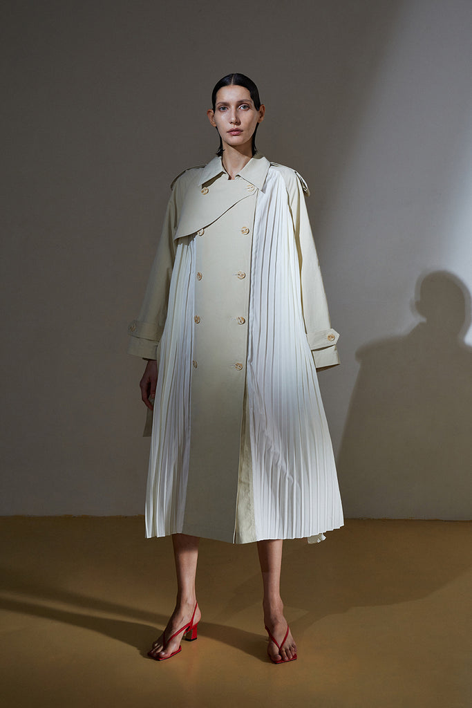 Pleated Bell Trench Coat-Beige/Ivory