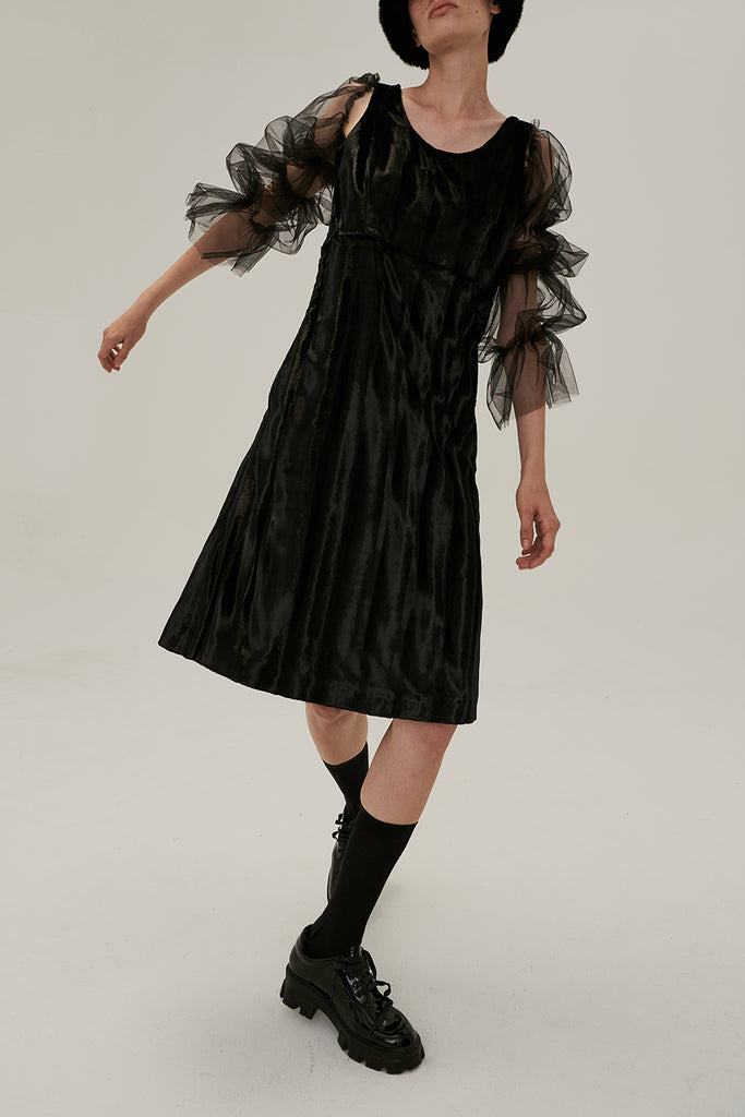 Isabella Faux Fur Dress-Black