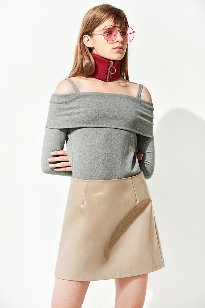 Grey Fold-over Bardot Top - front row shop