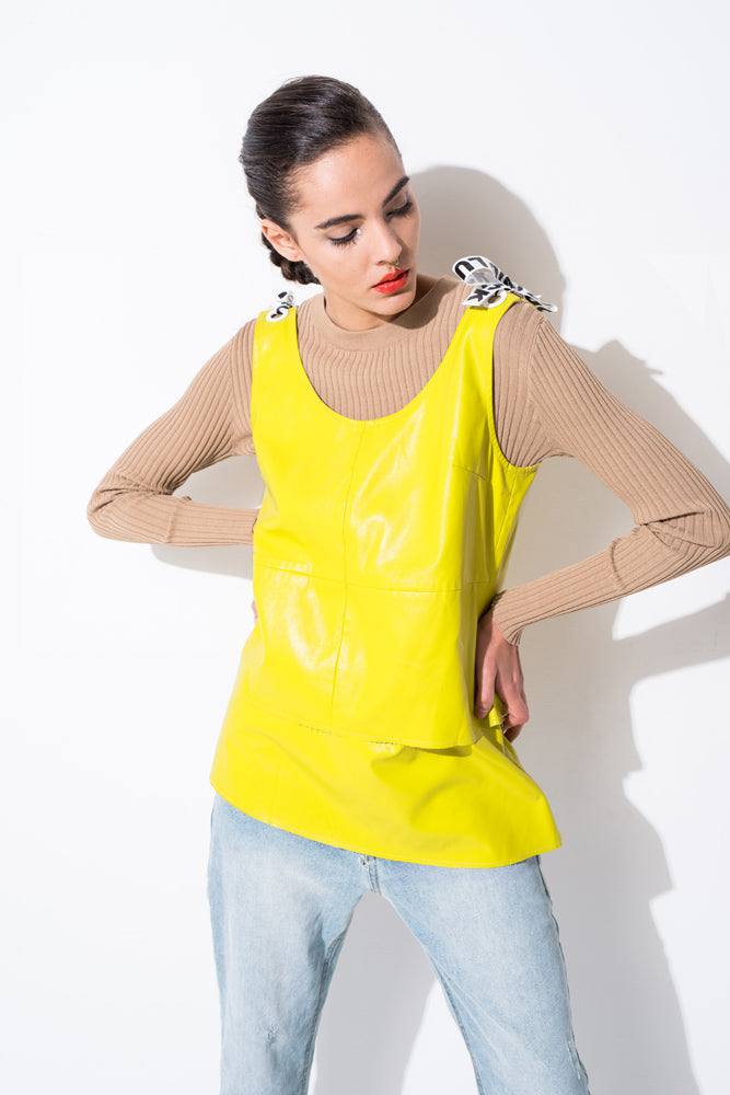 Yellow PU Detachable Suspender Vest