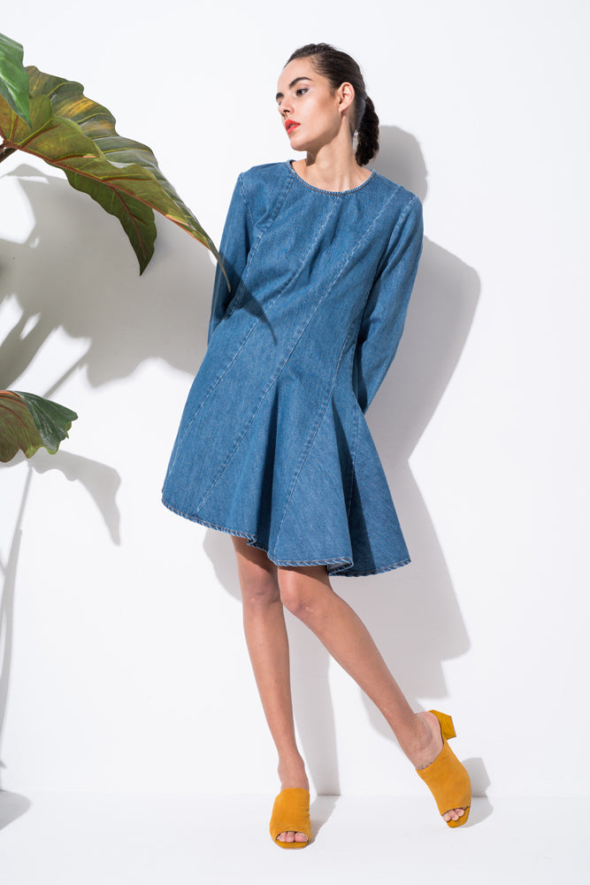 Mid Wash Asymmetric Denim Dress - front row shop