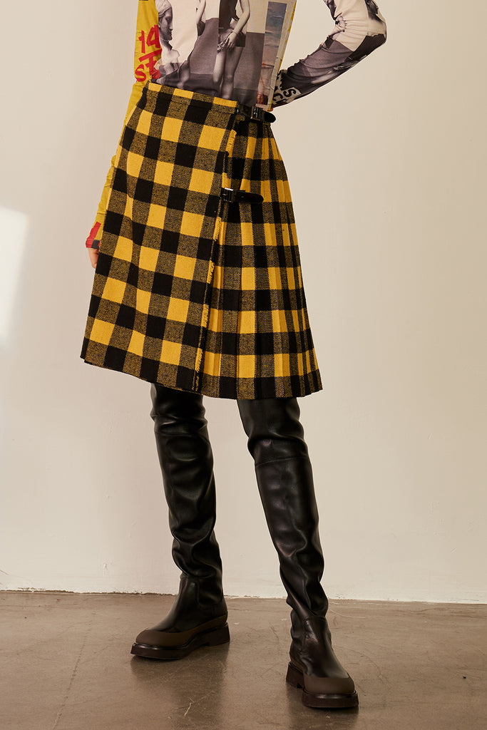 Yellow Checked Skirt