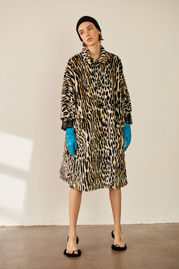 Tiger Print Shiny Reversible A-line Faux Leather Coat