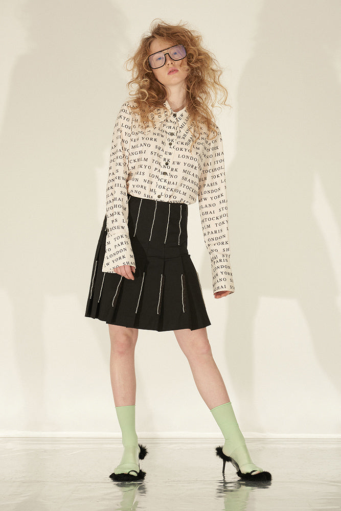 Letter Print Point Collar Long Sleeve Shirt - front row shop