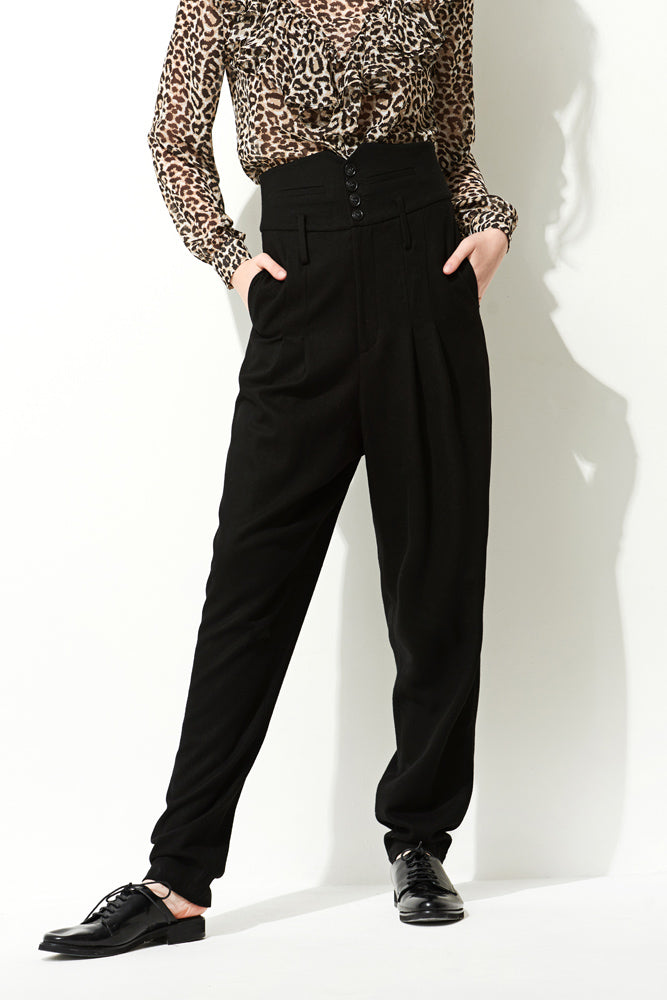 Black High Waist Pants - front row shop