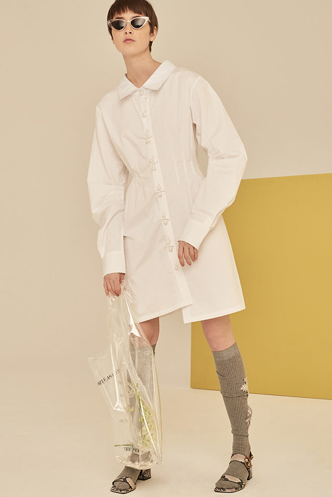 Big Shirt Dress With Pearl Buttons-White - front row shop