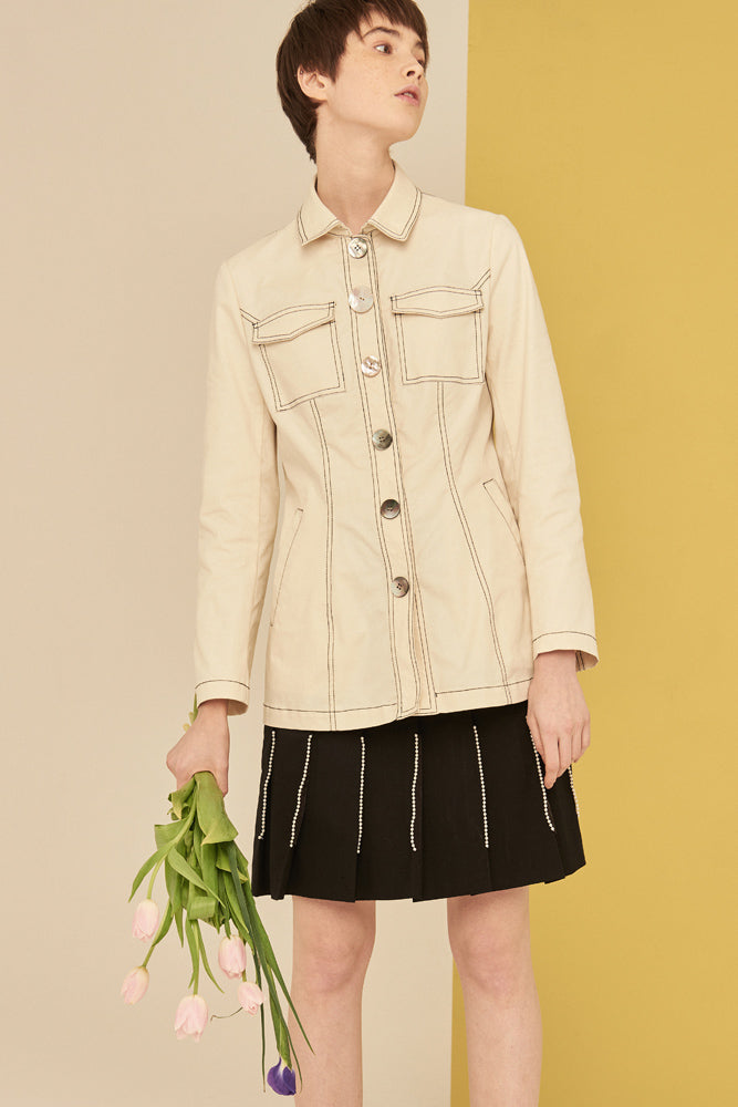 Long Jacket With Natural Seashell Button- Cream