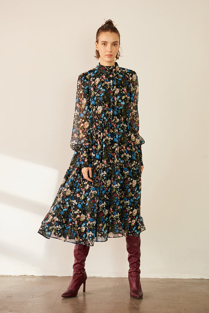 Puff Sleeve Shirred Chiffon Dress-Floral