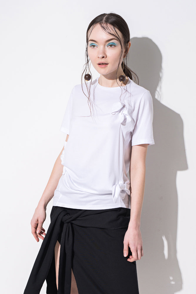 White Knot Detail T-Shirt