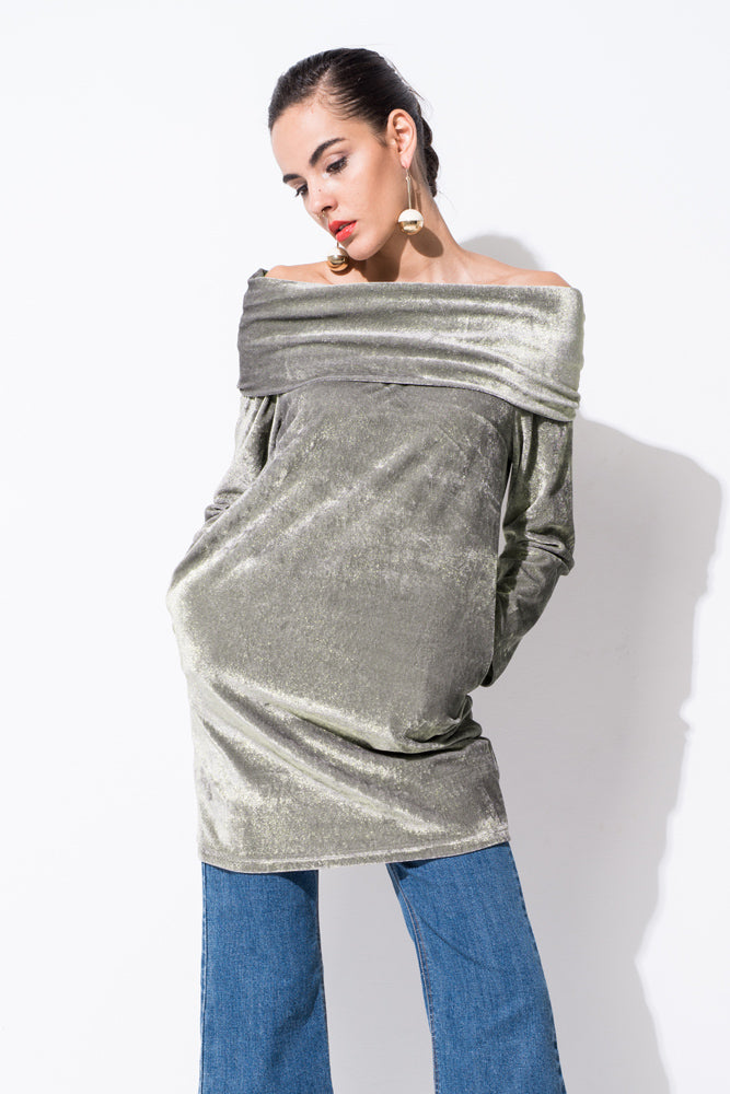 Grey Strapless Velvet and Metallic Dress - front row shop