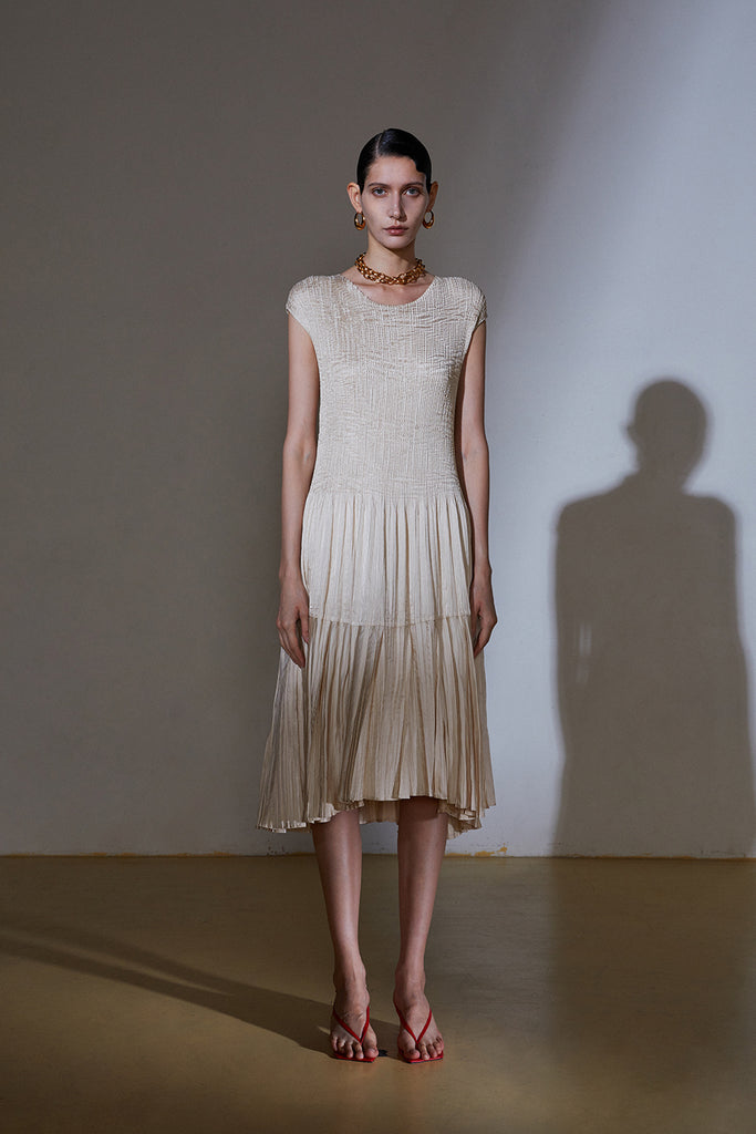 Beatrix Dress-Light Beige