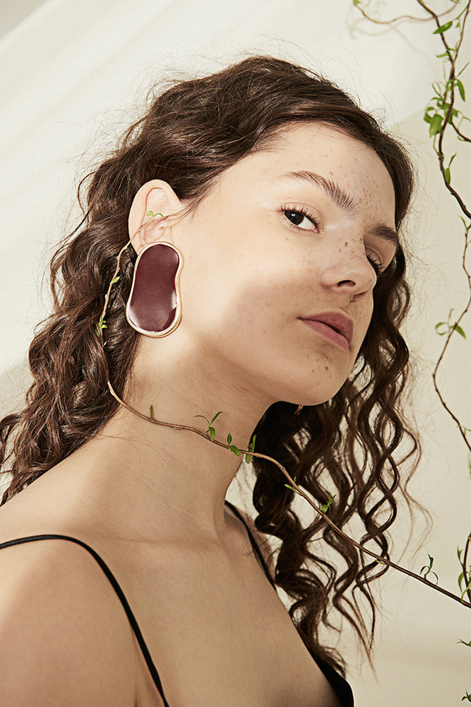 Asymmetric Oval Earrings - front row shop
