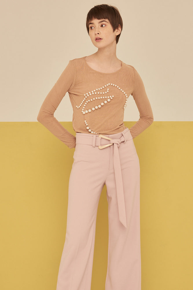 Mesh Top With Pearl Detail-Nude - front row shop
