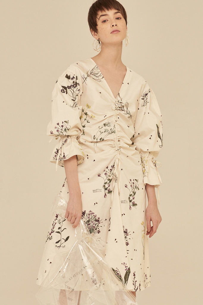 Floral Print V Neck Shirred Midi Dress With Puff Long Sleeves-Beige