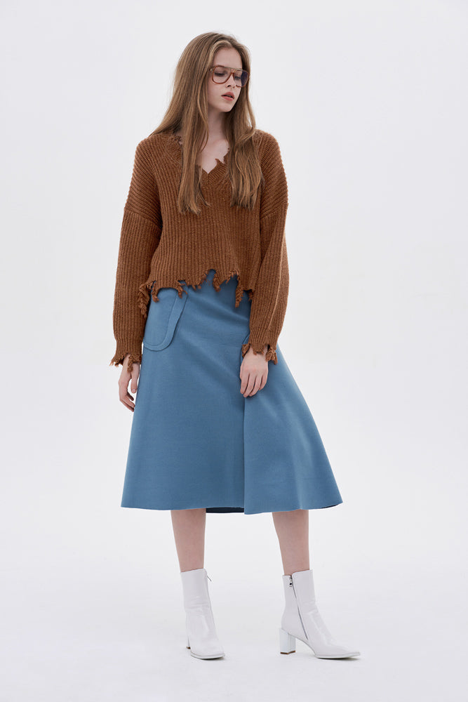 A-line Wool-blend Midi Skirt - front row shop