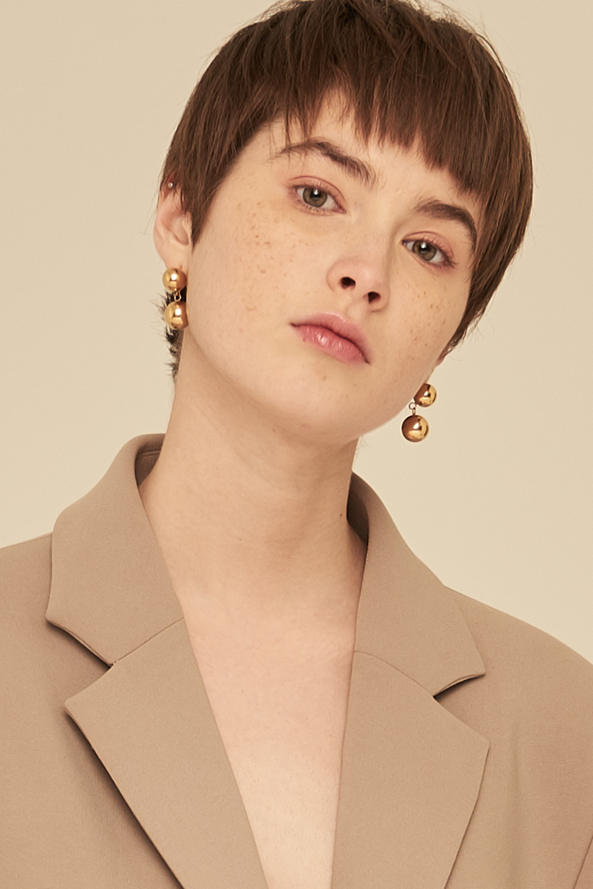 Double Ball Earrings-Gold