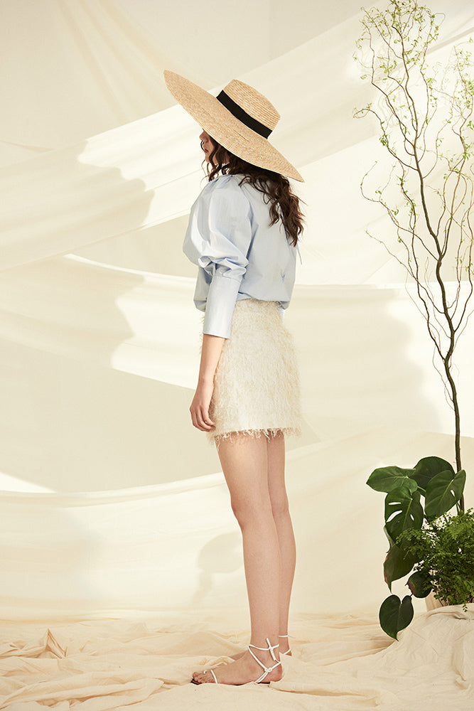 Fringe Mini Skirt- Beige - front row shop