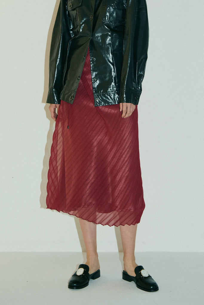 Double Layer Skirt-Burgundy/Lotus