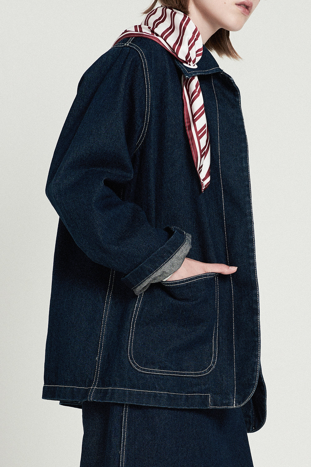 Denim Jacket With Removable Red Stripe Scarf - front row shop