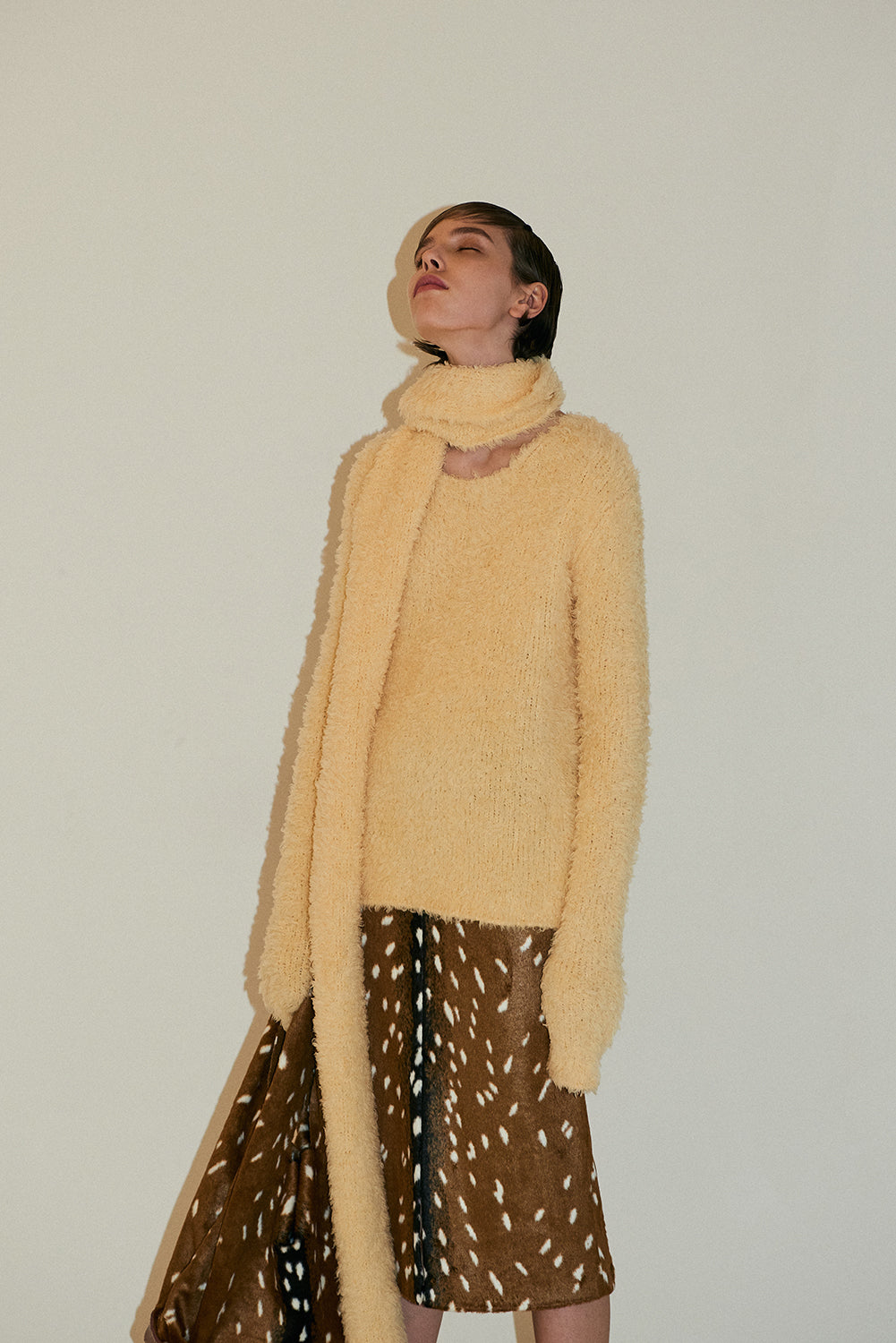 Annie Knit Sweater with scarf-Vanilla Yellow
