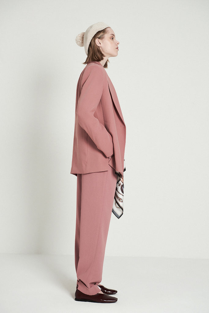 Pink Wide Shoulder Blazer With Horologe Print Scarf - front row shop