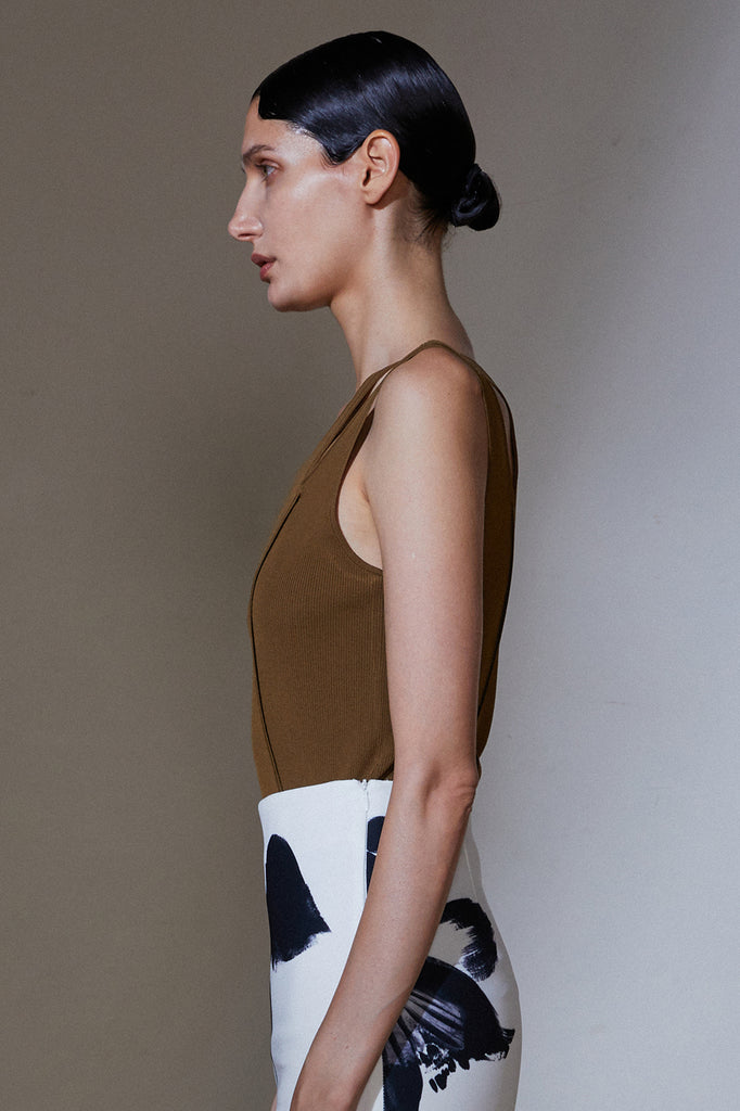 Cut Out Top-Khaki