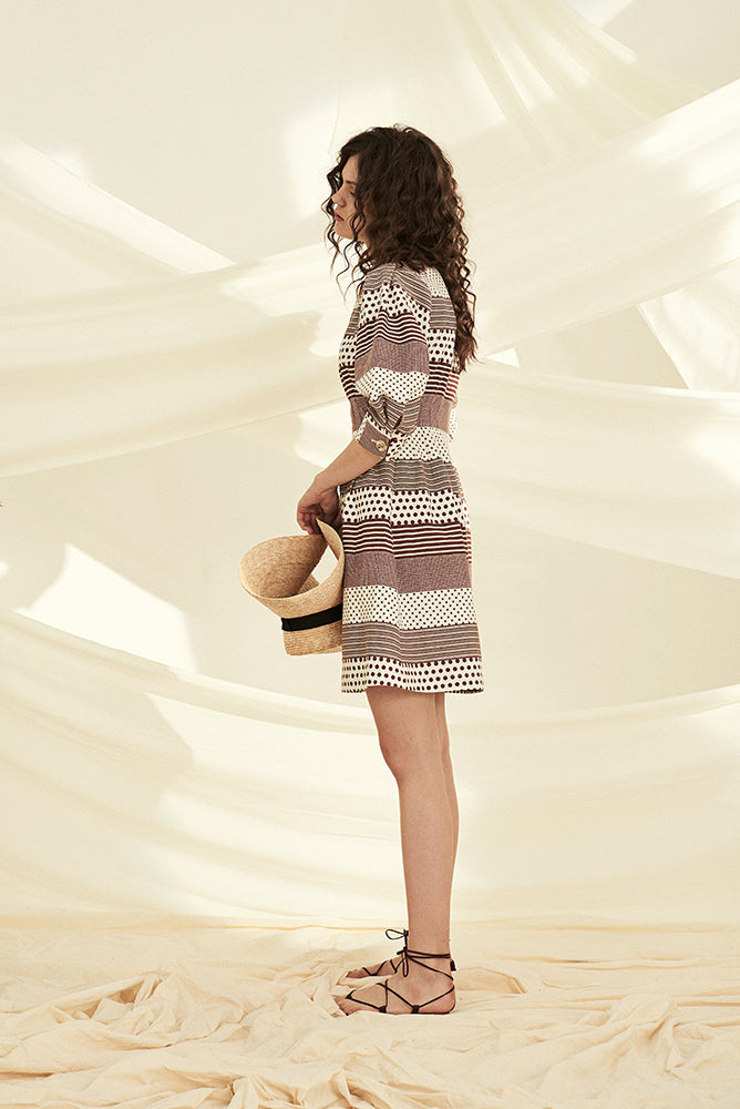 Vintage Style Geo Print Cut Out Dress