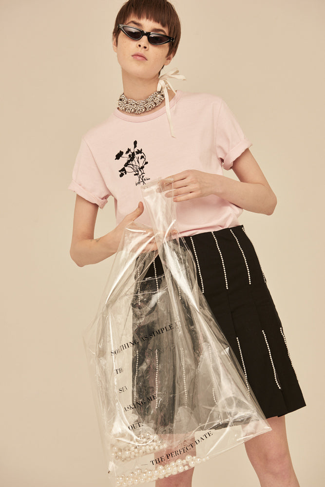 Oversized Clear Transparent Shopping Bag With Faux Pearls Inside - front row shop