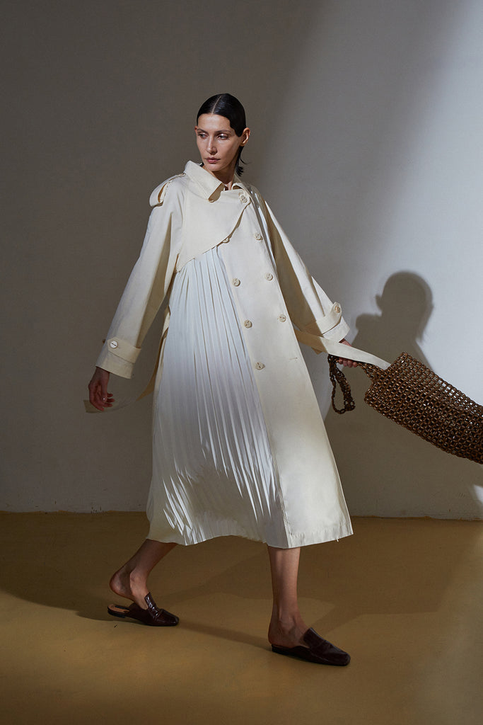 Pleated Bell Trench Coat-Ivory