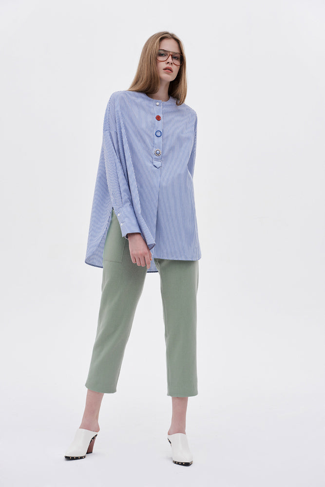 Draped Blue-stripe Blouse - front row shop