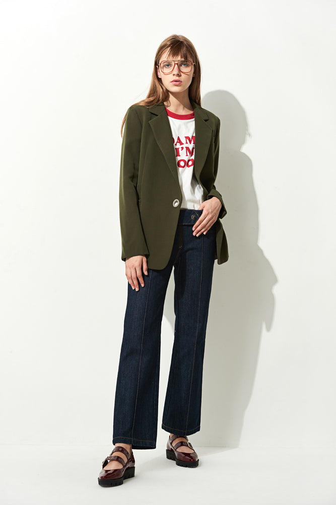 Olive Split Cuff Belted Blazer - front row shop