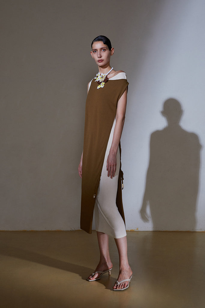 Wrap Up Dress-Khaki/Ivory