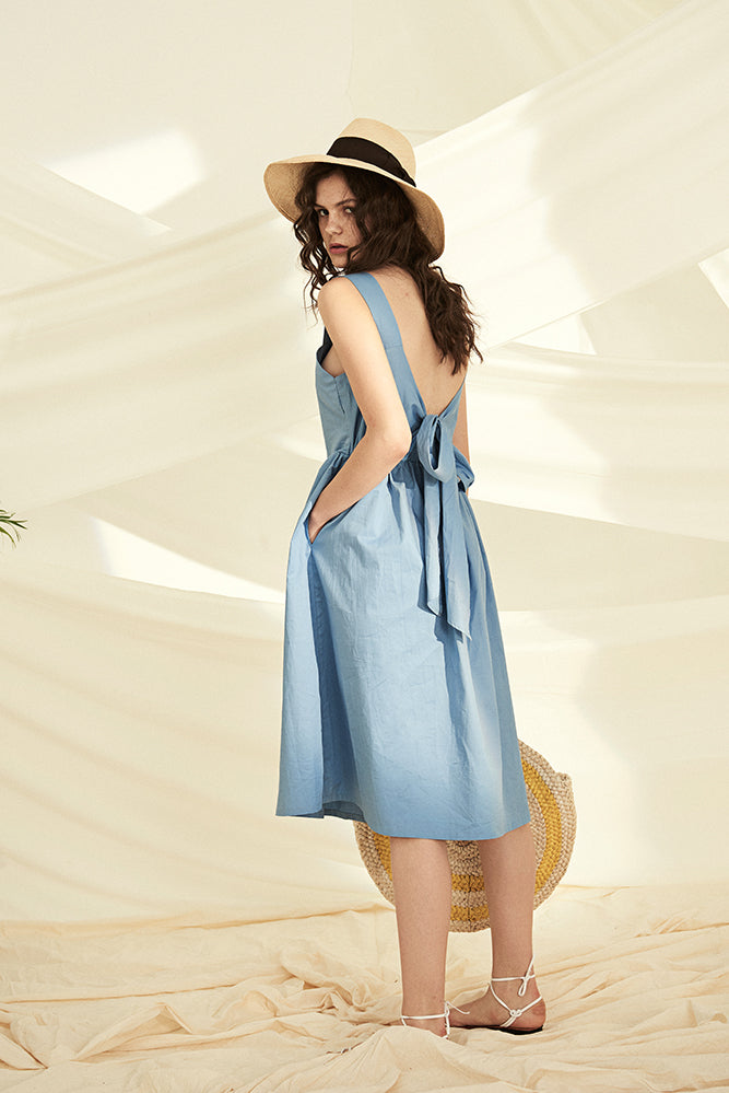 Lace Up Back Smock Dress-Blue - front row shop