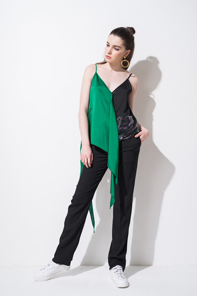 Black Slim Straight Pants - front row shop