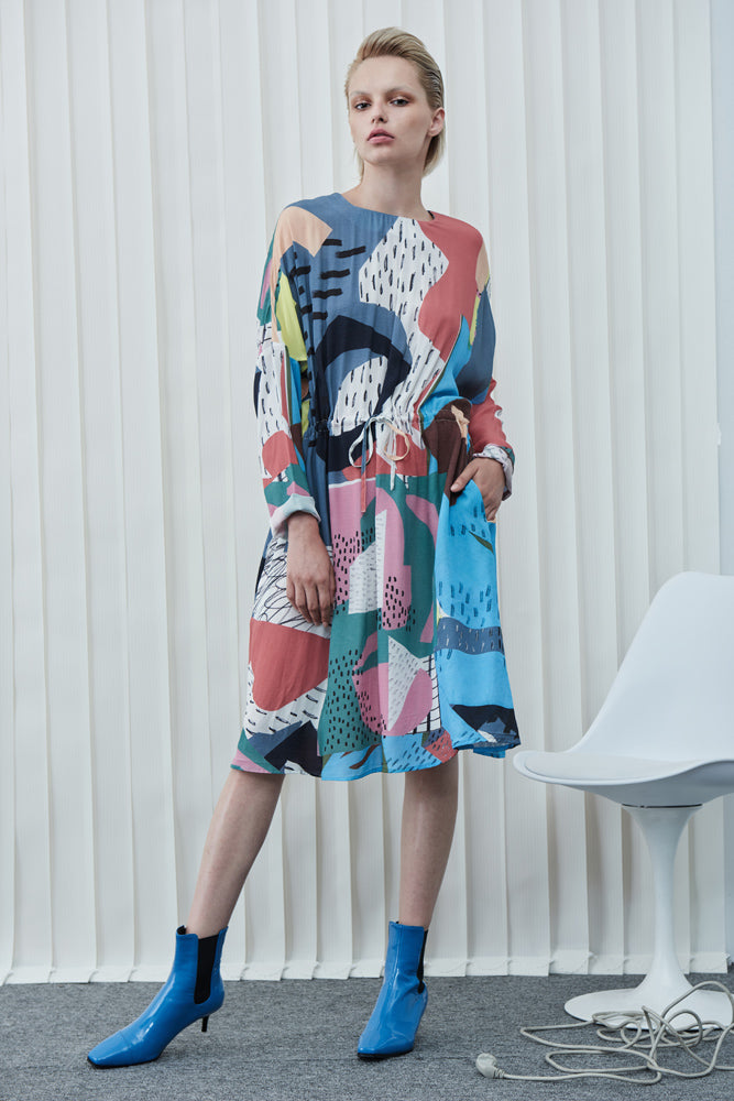 Geometric Print Dress - front row shop