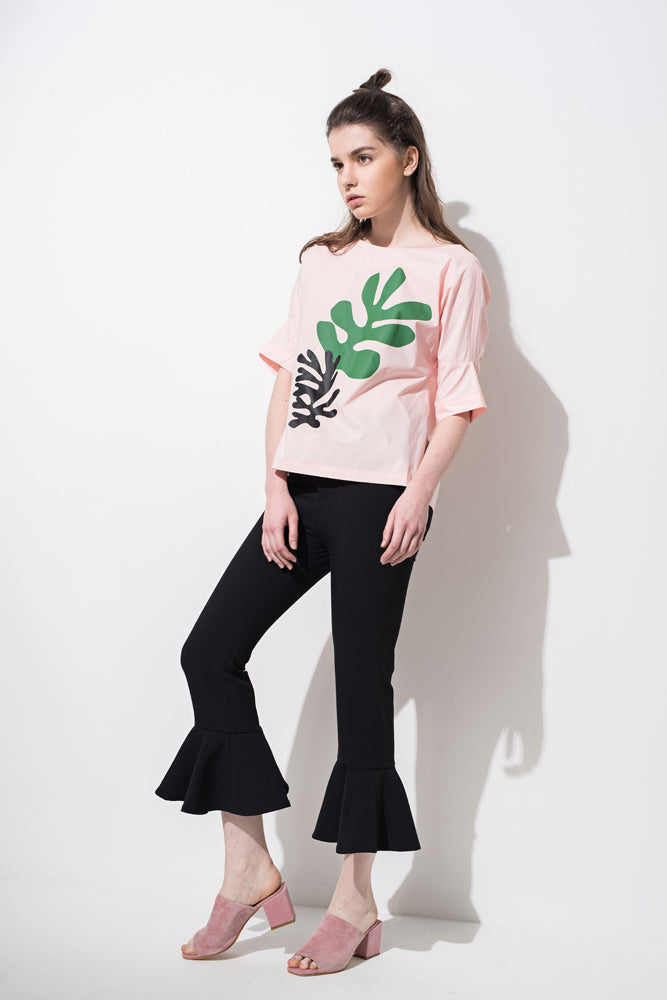 Pink Leaf Print Lace-up Back T-shirt - front row shop