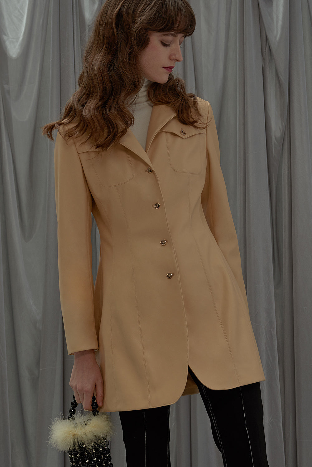 Backfired Blazer Coat-Vanilla Yellow