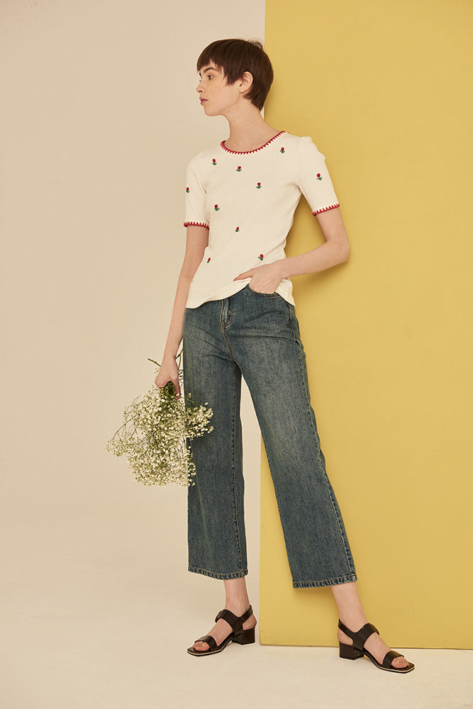 Floral Embroidery Knitted Tee - front row shop