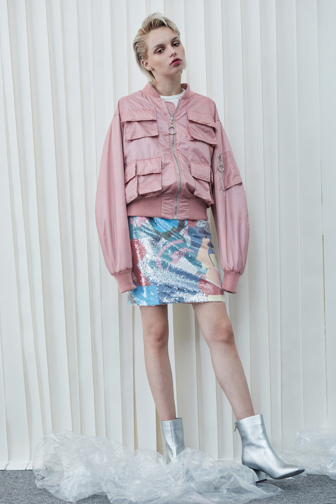 Pink Bomber Jacket - front row shop