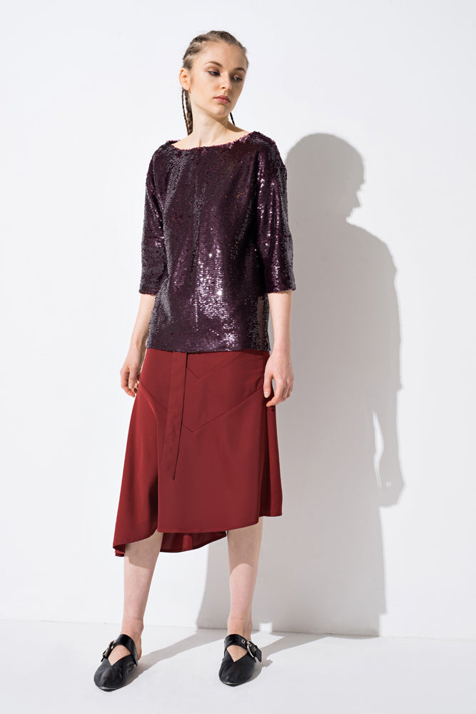 Wine Red 3/4 Sleeve Sequin Top