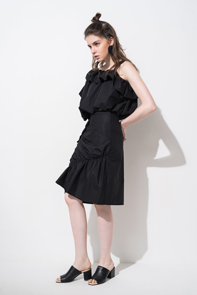 Black Ruffle Knee-length Skirt - front row shop