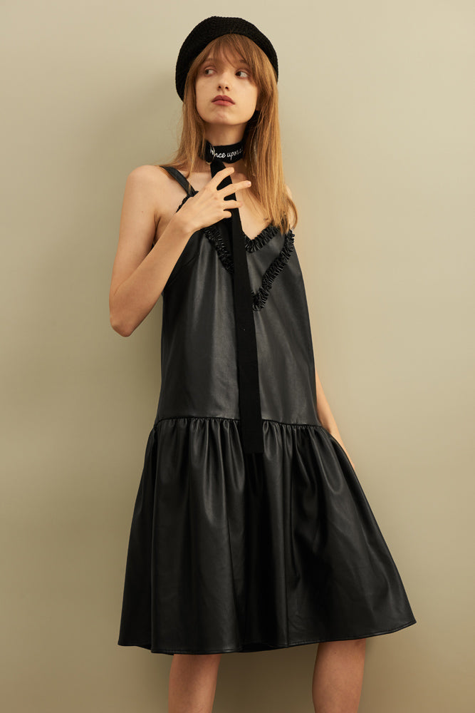 Ruffle-trimmed Slip Dress - front row shop