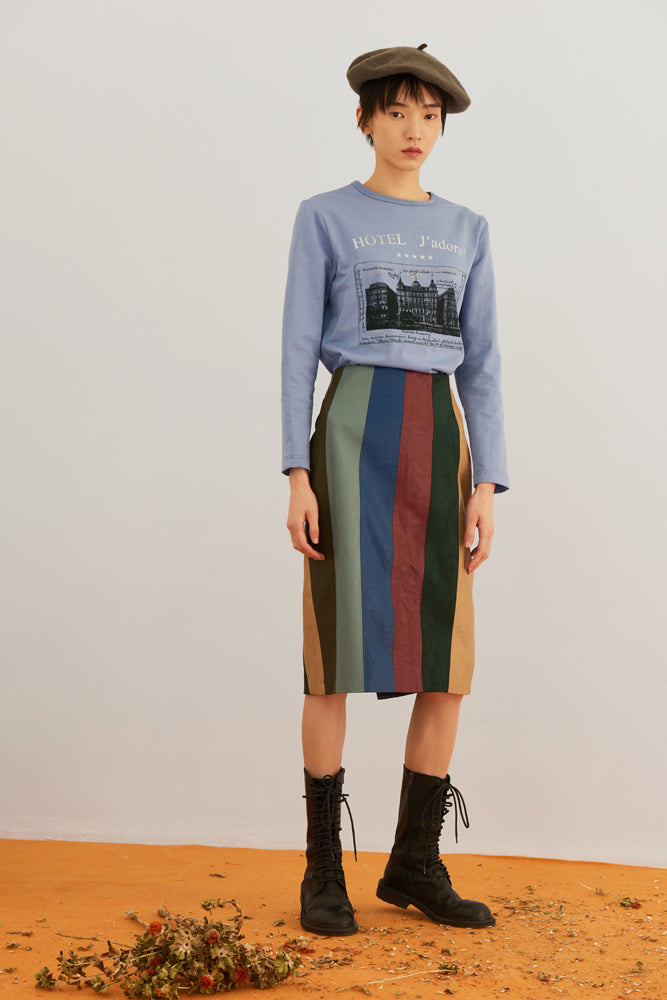 Patchwork Leather Mini Skirt - front row shop