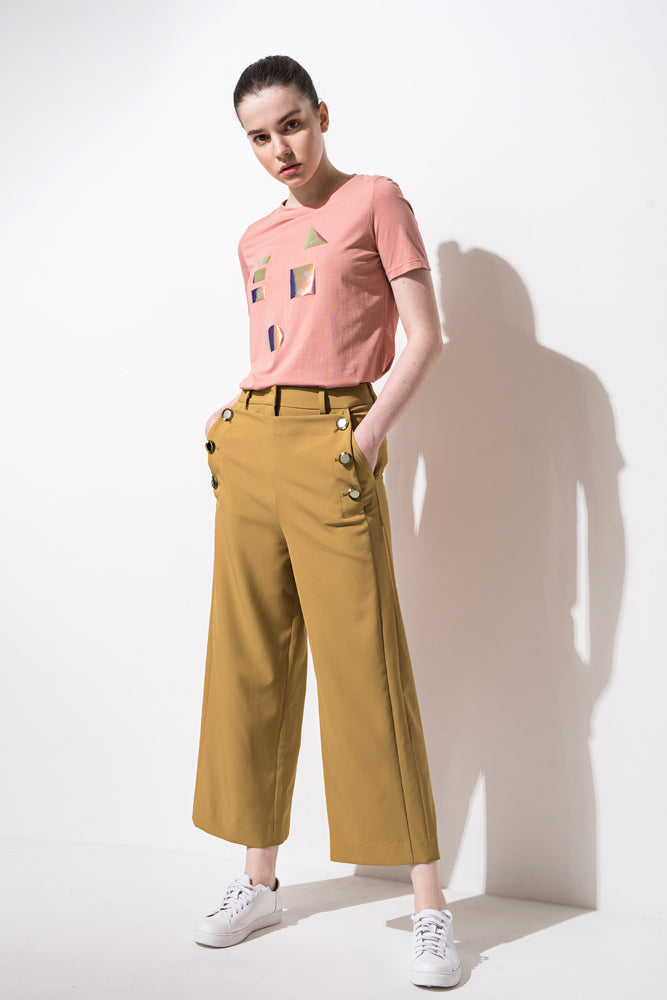 Brown Sailor Button Wide Leg Crop Pants - front row shop