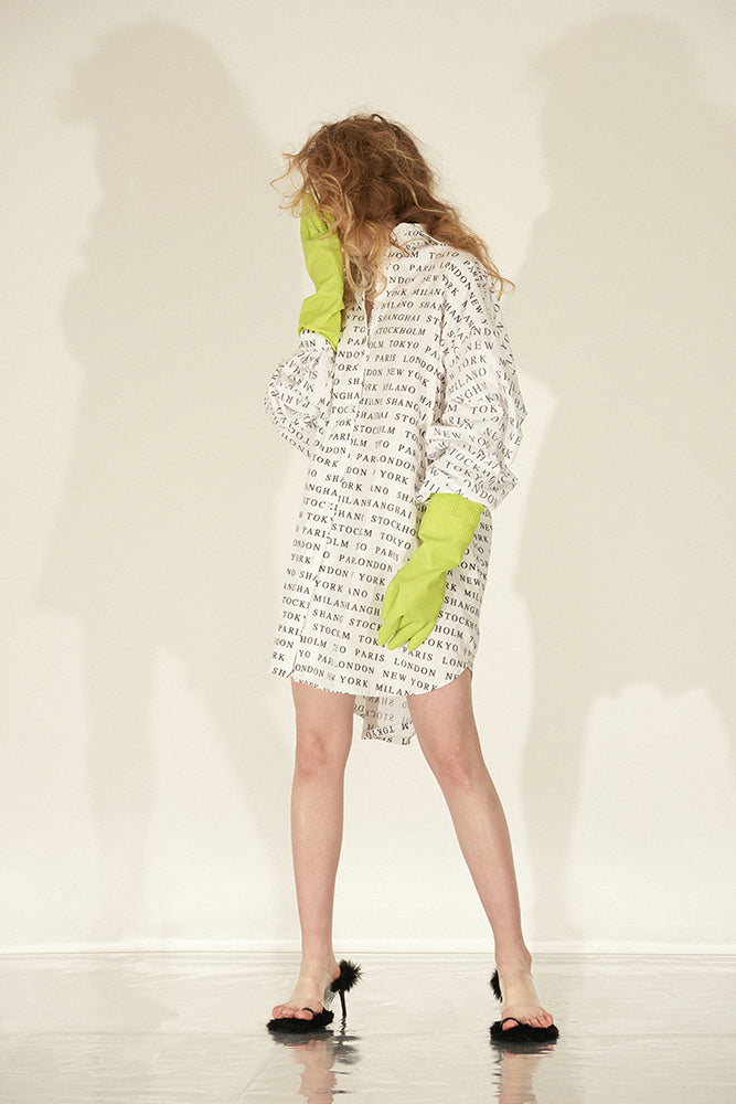 Multi-Wear Letter Print Big Shirt Dress - front row shop