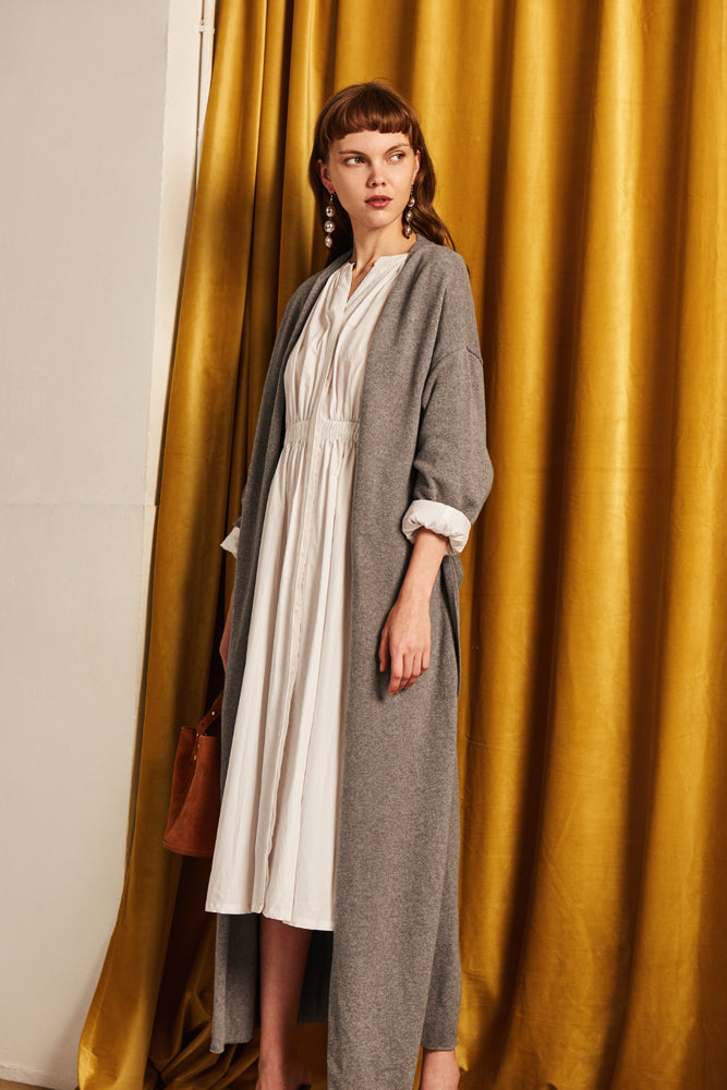 Side Slit Wool Cardigan