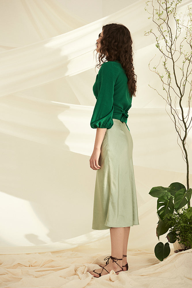 Satin Midi Skirt-Aqua - front row shop