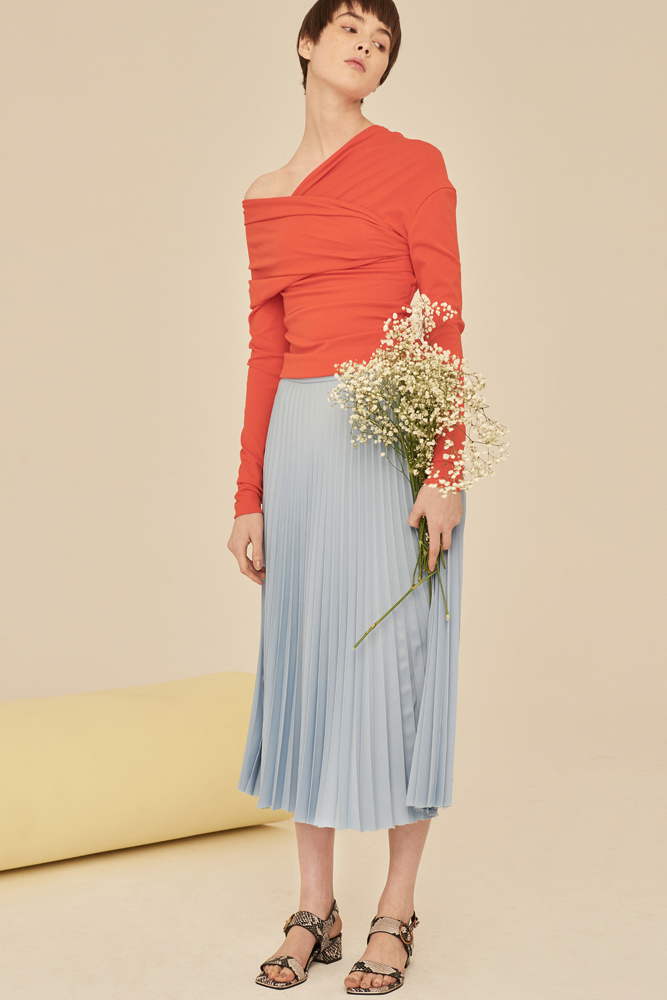Pleated Midi Skirt-Light Blue